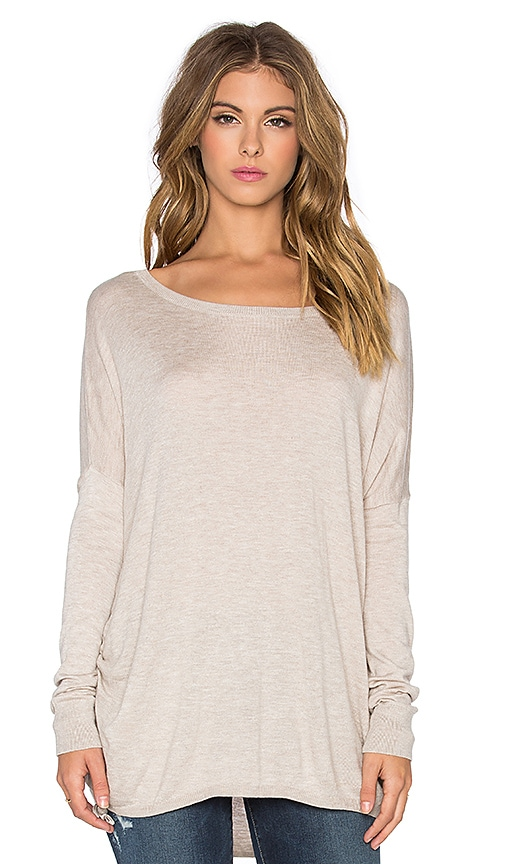 Splendid Cashmere Blend Cinched Sweater in Heather Wheat