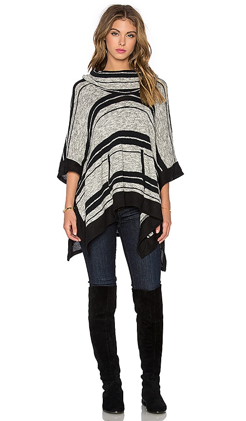 Splendid Sonoran Stripe Loose Knit Poncho in Black