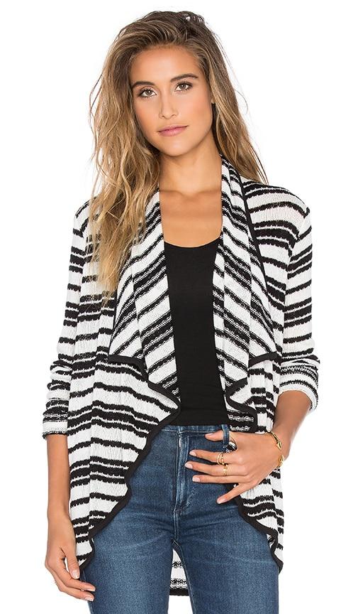 Splendid Dockside Stripe Wrap Sweater in Black