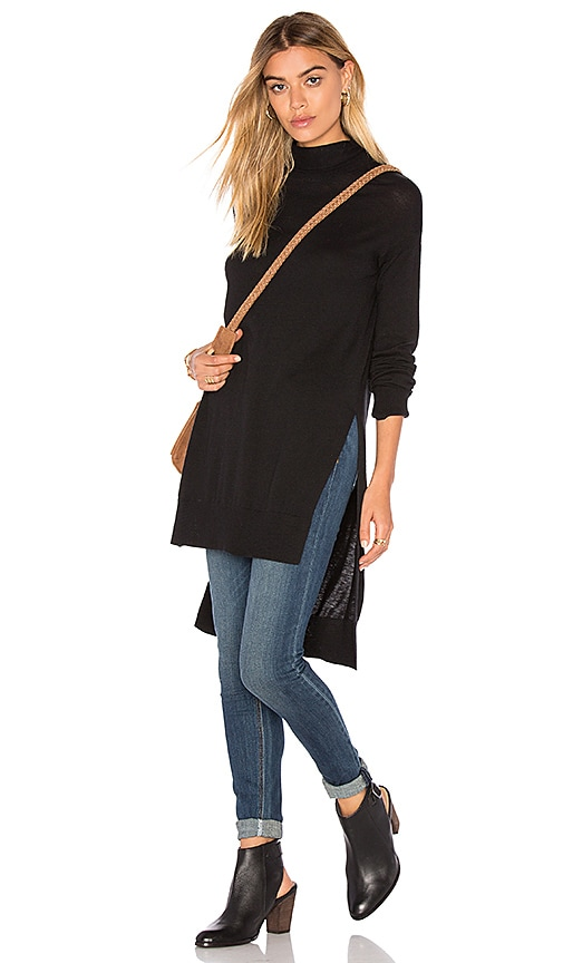 Splendid Cashmere Blend Turtleneck Sweater in Black