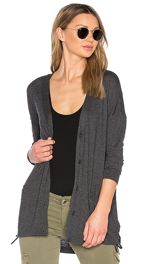 Splendid Cashmere Blend Lace Up Cardigan in Charcoal