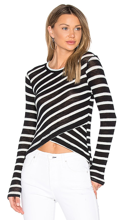 Splendid Stripe Crossfront Top in Black