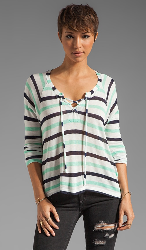 Clearwater Stripe Lace Up Sweater
