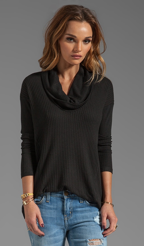 Waffle Loose Knit Long Sleeve Cowl Neck