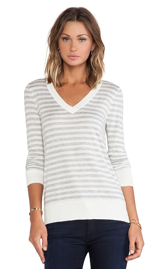 Cashmere Blend V Neck Striped Sweater