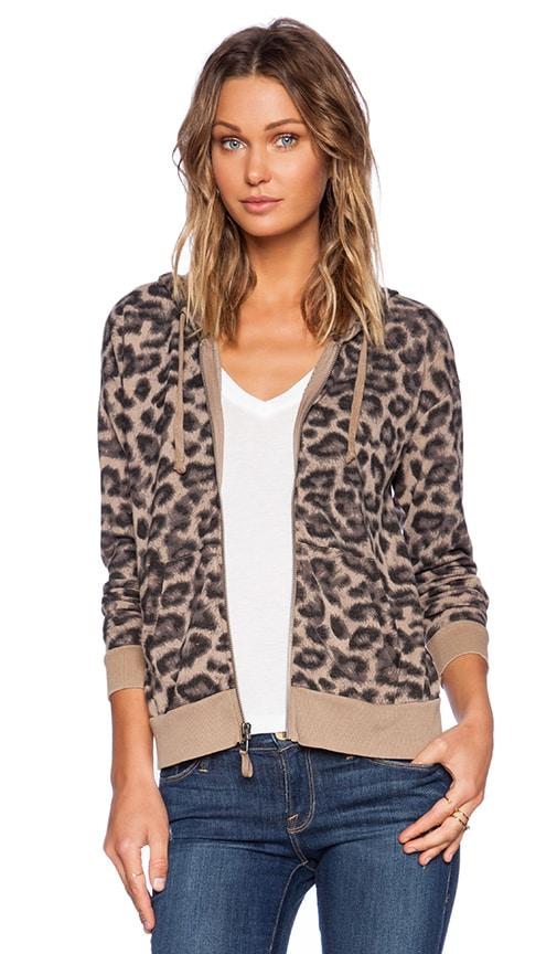 Distressed Leopard Zip Hoodie