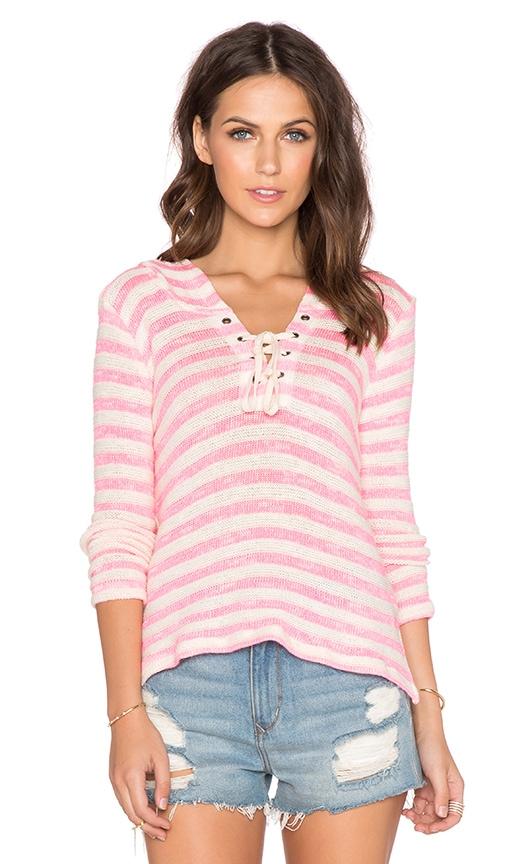 Splendid Ohana Stripe Hoodie in Pink