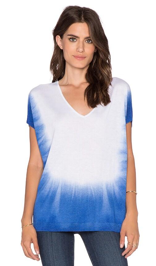 Splendid Dip Dye Dolman Sleeve Sweater in White & Mediterranean