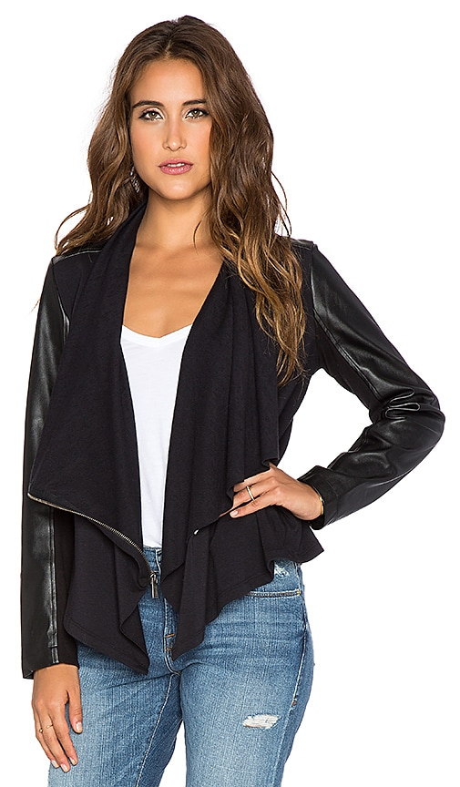 Splendid Mural Mixed Media Jacket in Black