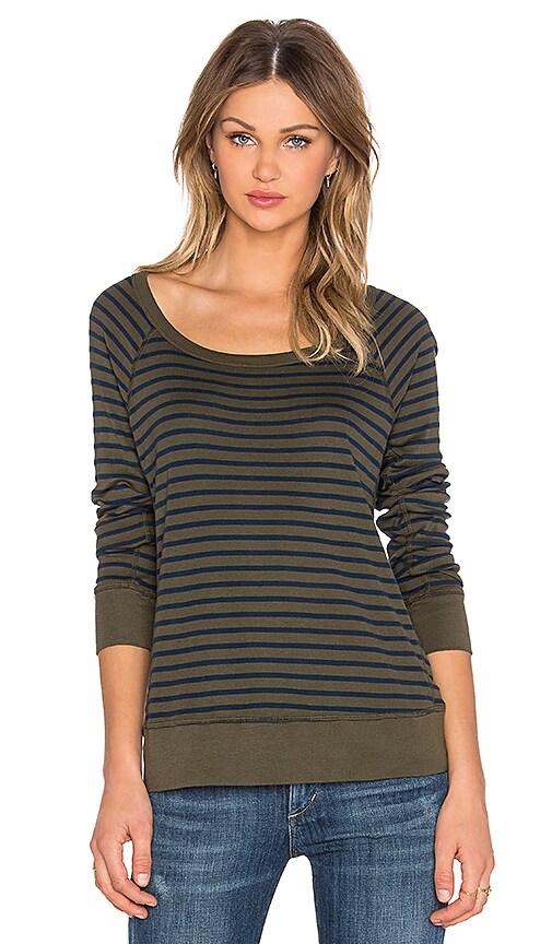 Splendid 1x1 Venice Stripe Sweatshirt in Olivine
