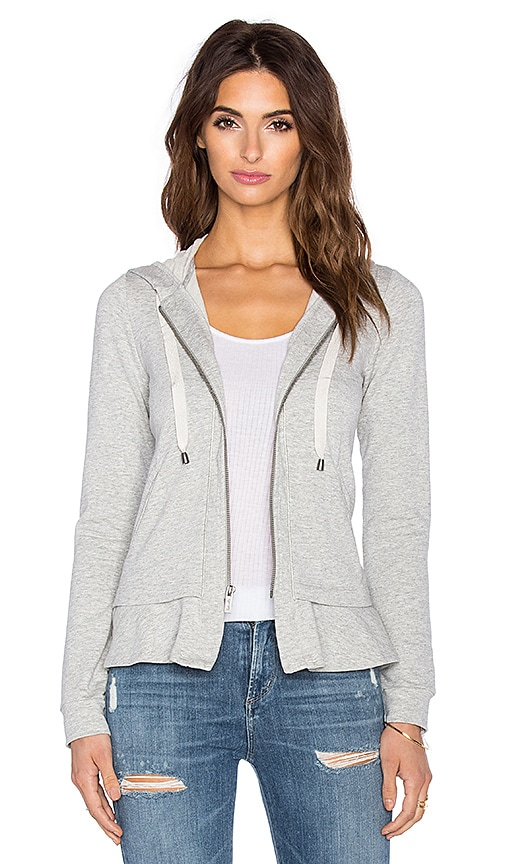 Splendid Orion Shine Ruffle Hem Hoodie in Heather Grey