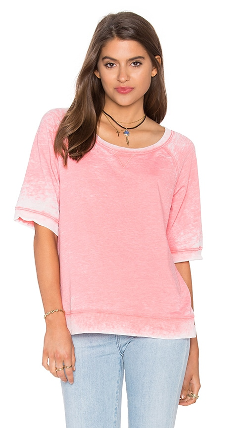 Splendid Burnout Active Short Sleeve Sweatshirt in Pink