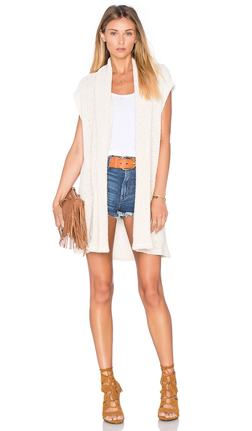 Splendid Prairie Loose Knit Vest in Cream
