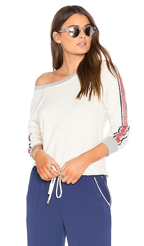 Splendid Vintage Roller Rugby Stripe Sweatshirt in Beige
