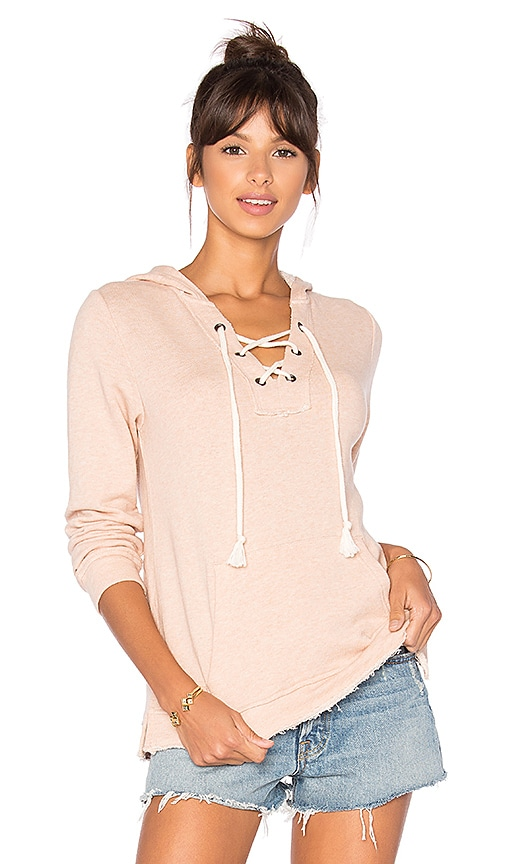Splendid Active Lace Up Hoodie in Pink
