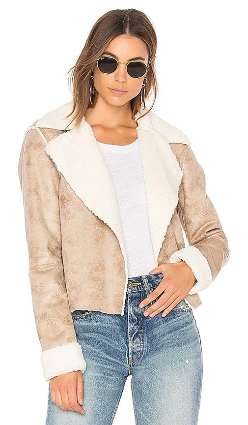 Splendid Delancey Faux Fur Jacket in Tan