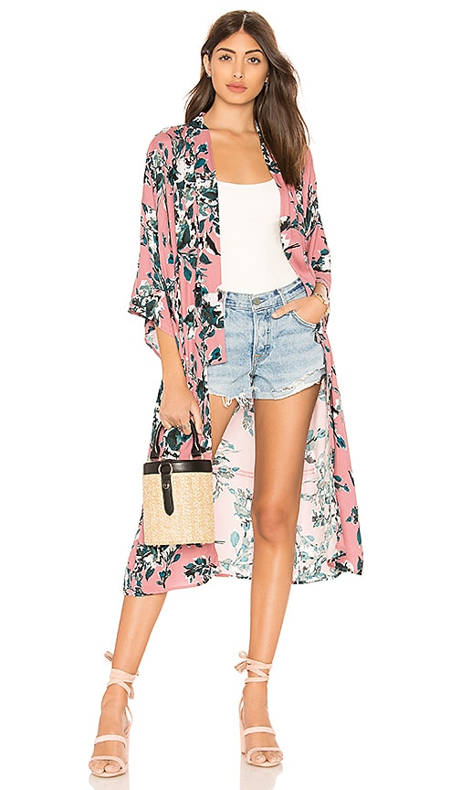 Splendid Painted Floral Kimono in Rose