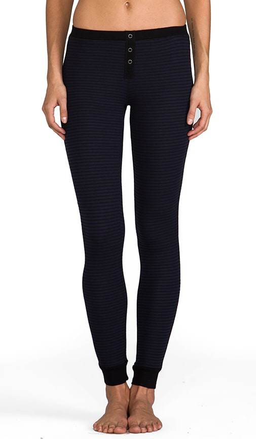 Mini Black Stripe Thermal Leggings