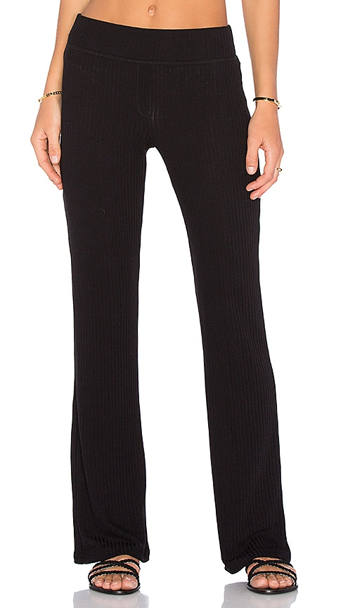 Splendid Sylvie Rib Pant in Black