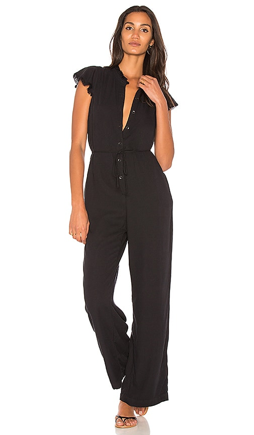df7febcf4a5 SPLENDID WOMAN BELTED FRAYED PIQUÉ-GAUZE JUMPSUIT BLACK
