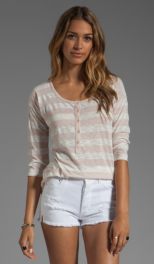 White Stripe Rugby Henley Top