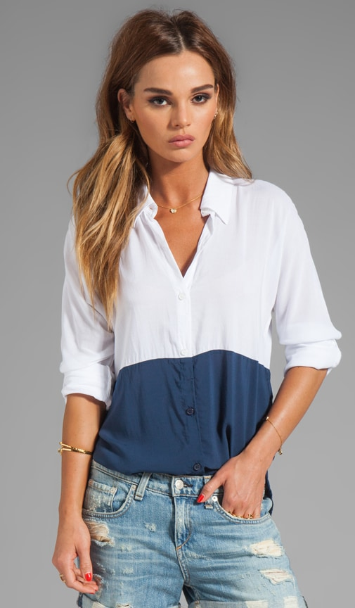 Color Blocked Button Up Top