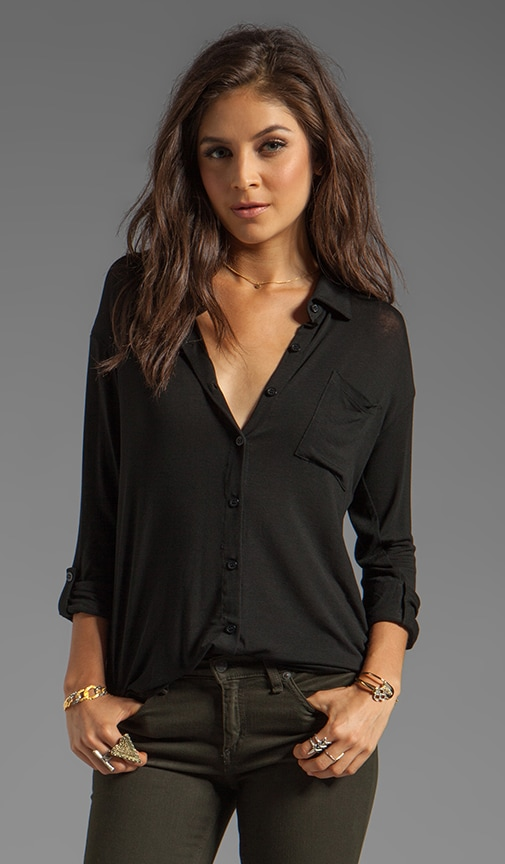 Drapey Lux Button Up on Black