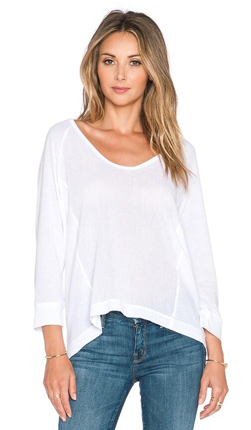 Splendid Cotton Gauze Long Sleeve Top in White