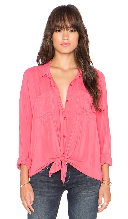 Splendid Rayon Voile Button Up Top in Desert Rose