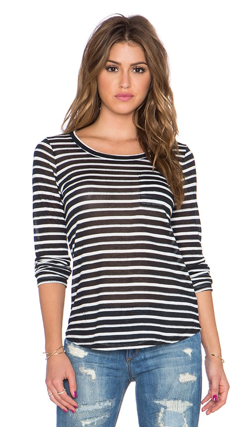 Splendid Valletta Stripe Jersey Long Sleeve Tee in Black