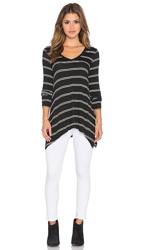 Splendid Canvas Double Stripe Oversized Top in Black & White