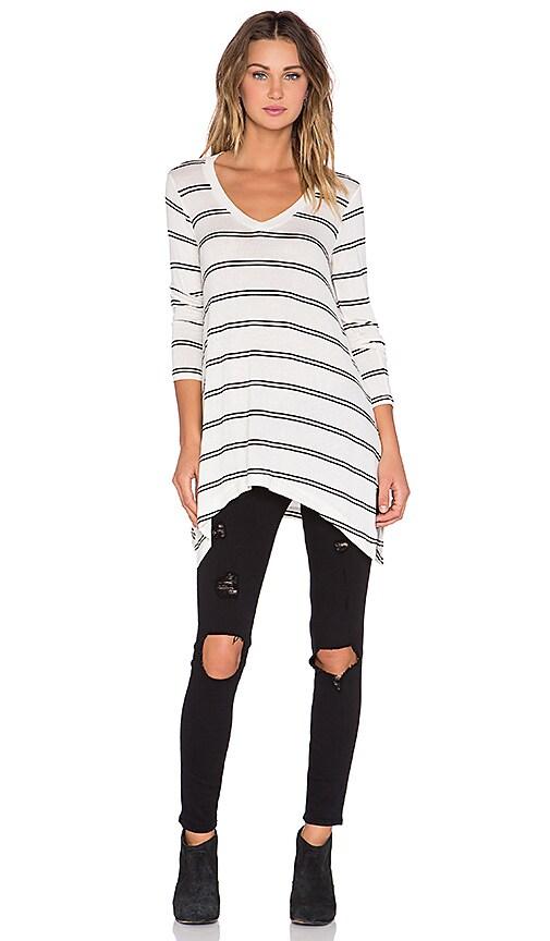 Splendid Canvas Double Stripe Oversized Top in White & Black