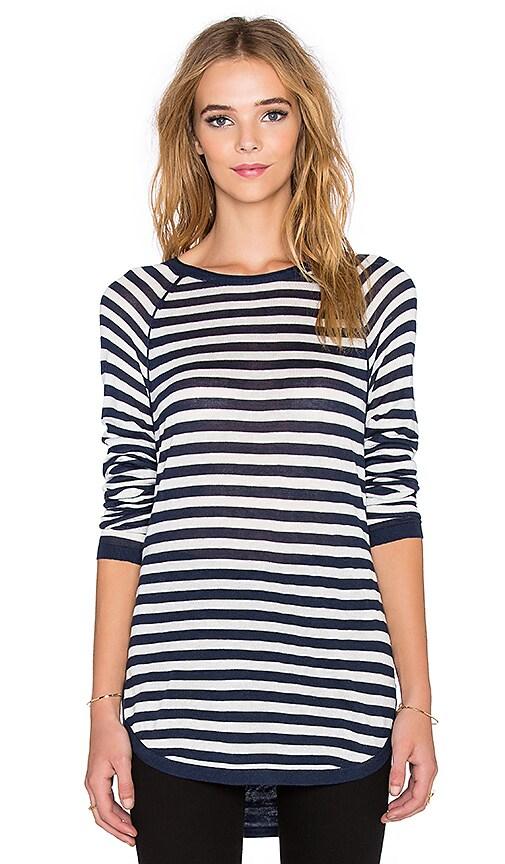Splendid Easel Contrast Stripe Top in Navy & White