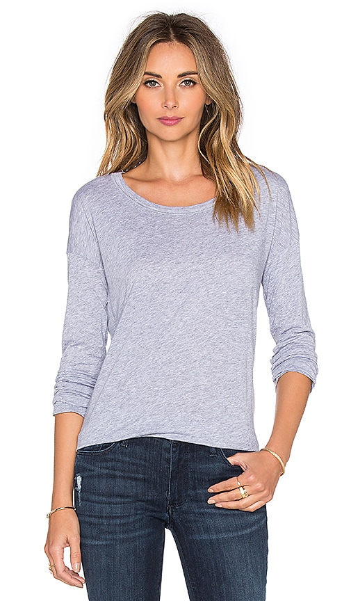Splendid Very Light Rib Jersey Long Sleeve Top in Gray