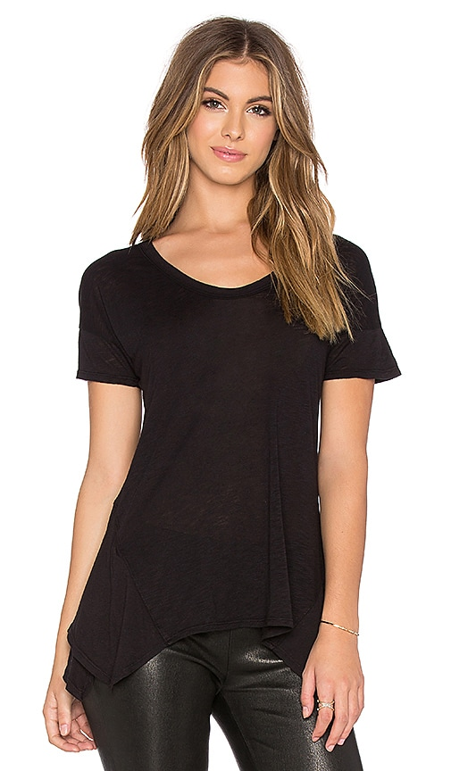 Splendid Slub Jersey Scoop Neck Tee in Black
