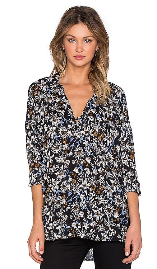 Splendid Cedarwood Floral Long Sleeve Top in Black