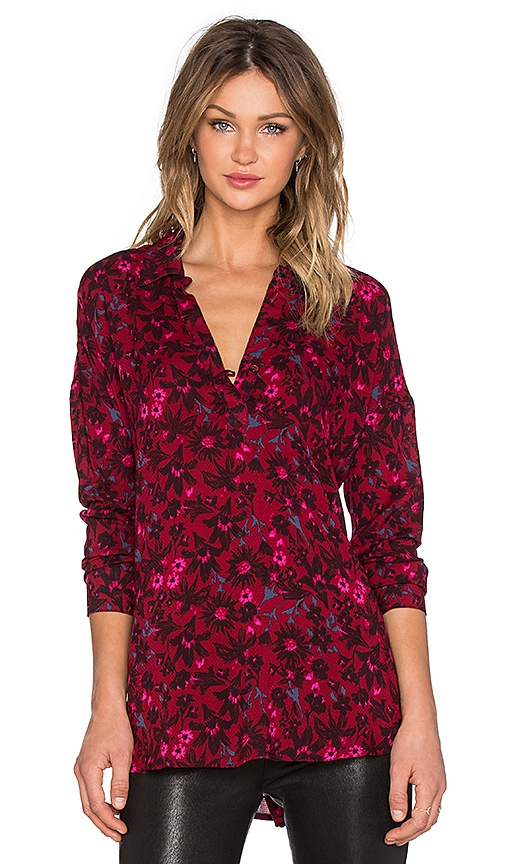 Splendid Cedarwood Floral Long Sleeve Top in Cranberry