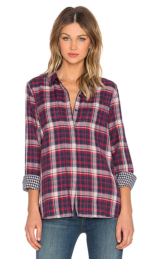 Splendid Hunter Plaid Button Up Top in Fiesta