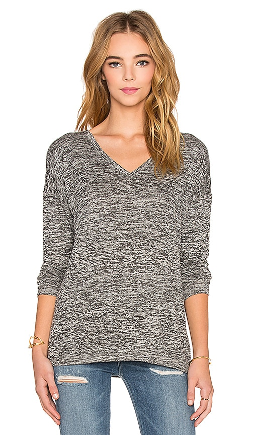 Splendid Mouline Jersey Long Sleeve V-Neck Tee in Black & White