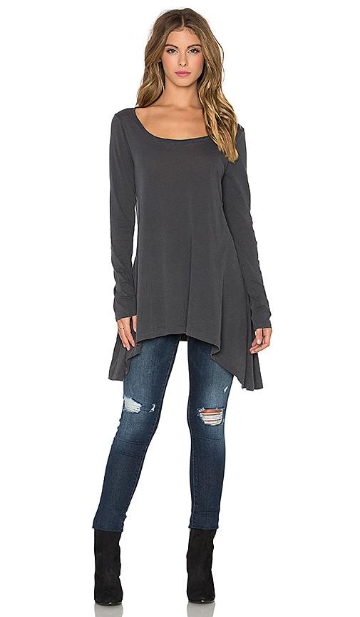 Splendid Vintage Whisper Long Sleeve Flowy Tee in Lead