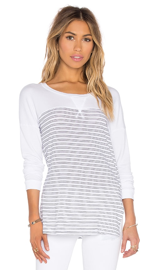 Splendid Double Pinstripe Jersey Long Sleeve Top in White & Navy