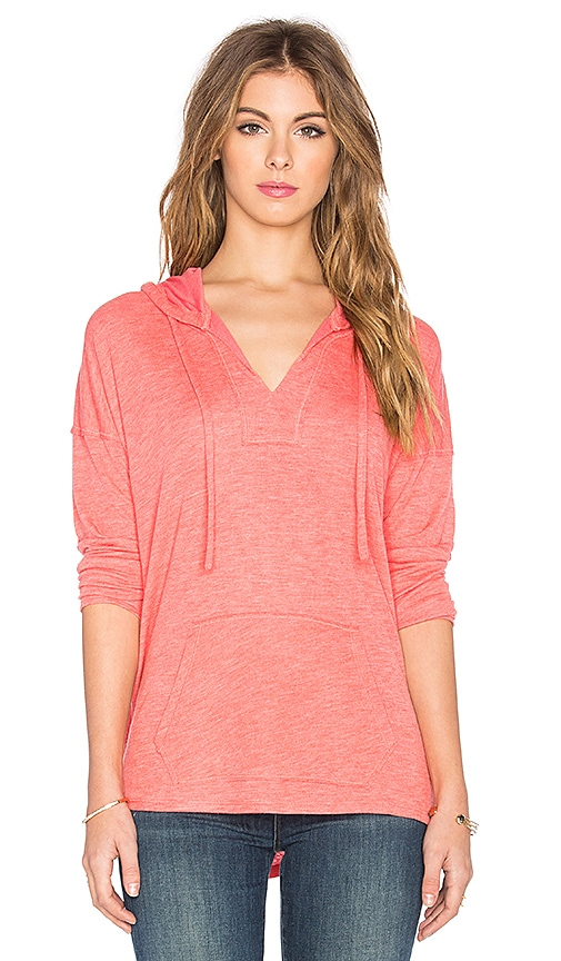 Splendid Alcove Double Face Jersey Long Sleeve Hooded Tee in Coral Pink