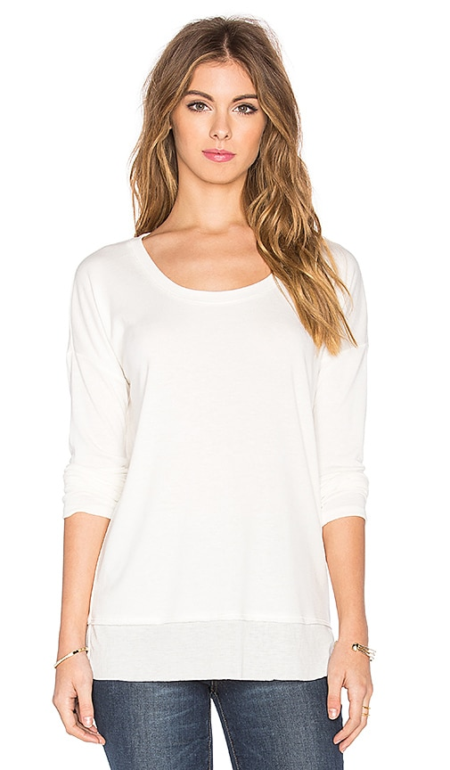 Splendid Feather Rib Cozy Jersey Long Sleeve Tee in Soft White