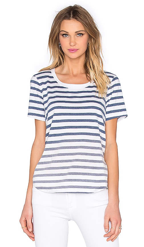 Splendid Sunfaded Stripe Jersey Tee in Navy