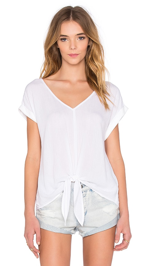 Splendid Crinkle Gauze Tie Front Top in White