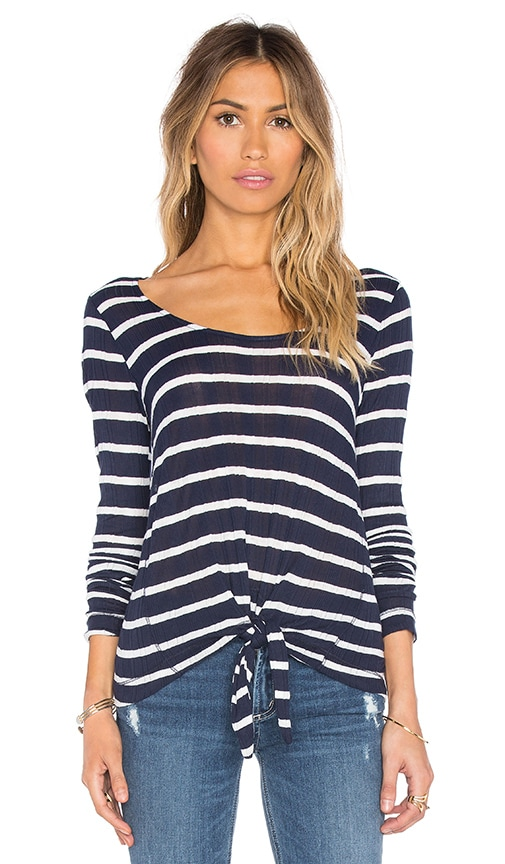 Splendid Huntington Stripe Rib Long Sleeve Top in Navy
