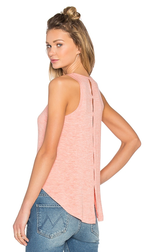 Splendid Heathered Jersey Slit Back Tank in Heather Coral