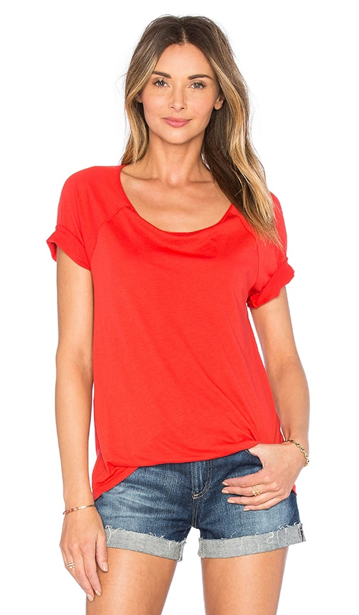 Splendid Very Light Jersey Scoop Neck Tee in Red