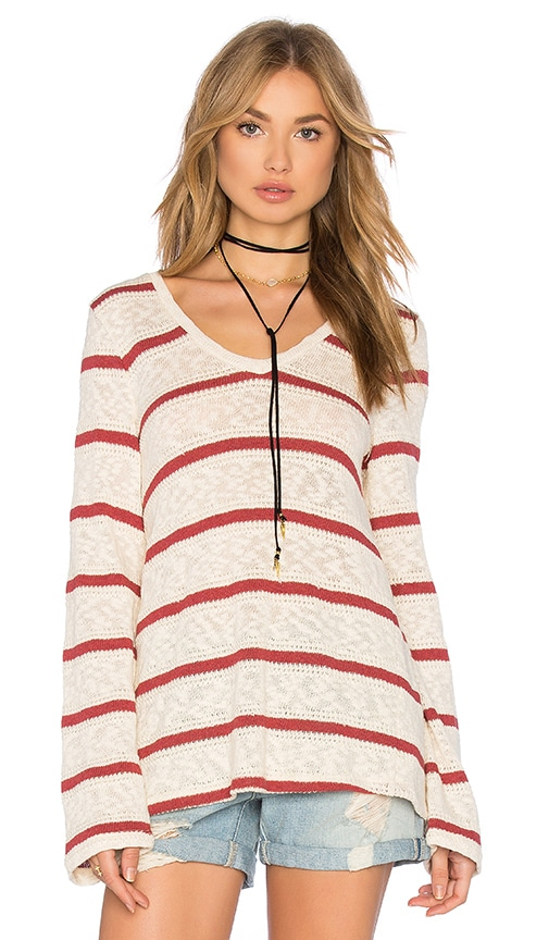 Splendid Tucson Striped Loose Knit Top in Ivory