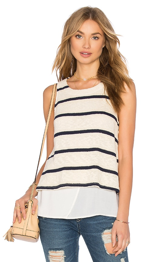 Splendid Tucson Striped Loose Knit Tank in Ivory